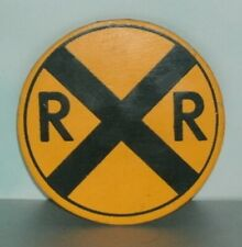 Wooden RR Train Railroad Crossing Refrigerator Magnet (3 Inch) Mini Road Sign