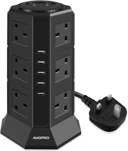 AUOPRO Surge Protector Extension Lead with USB Slots, Vertical Tower Power Strip