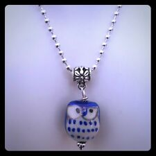"""Porcelain Owl 1"""" Blue Gold White Stainless Steel Silver Ball Necklace 16"""" or 18"""""""