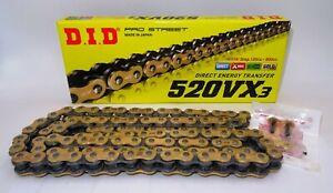 DID CATENA TRASMISSIONE 520 VX3 120 MAGLIE X-RING GOLD & BLACK