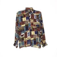 Herren Langarmhemd Größe XL Vintage Shirt Retro Motiv Mix Muster Viskose