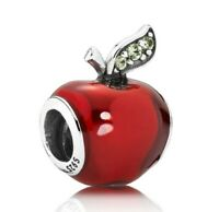 Sterling Silver DIY Jewelry Snow White's Apple Charms Red Enamel Apple Charm