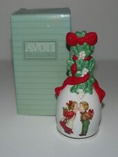 1989 Avon Porcelain Christmas Bell Under The Mistletoe In Original Box