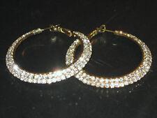 NEW (6140-6) Wide Hoop Diamante Earrings Gold