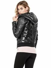 GUESS Jacket Women's Hooded Chevron Quilted Midweight Puffer Jacket L Black NWT