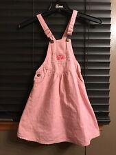 Vintage Osh Kosh B gosh white/pink striped jumper overalls dress size 6X cotton