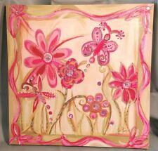 "Liesl Long Beautiful Pink Purple Painting on Canvas w Jewels 20"" Square 2008"
