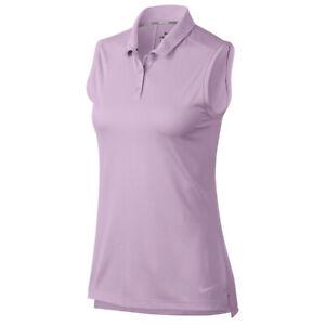 NEW NIKE MEDIUM Dri-FIT Polo Sleeveless Golf Shirt Lilac Mist Purple NWT