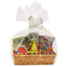 Wicker Hamper Gift Basket Greeting Natural Shred Cellophane Bow Birthday Gift