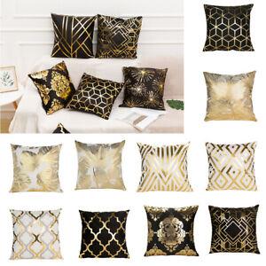 2pcs Throw Pillow Cover Living Room Gold Foil Gift Home Decor Short Plush Luxury