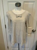 Marc by Marc Jacobs Gray Short Sleeve Waffle Knit Top w/ Bow, Size Small