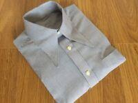 "Men's white/blue/redstripe 1940's vintage style WWII 15"" spearpoint collar shirt"