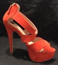SALE!! $15!! Women's Orange ZU Strappy Stilleto's Size 6.5