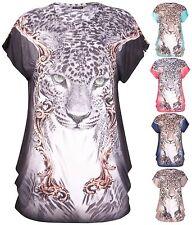 Womens Plus Size Diamante Stud Leopard Animal Print Cap Sleeve Ladies Long Top
