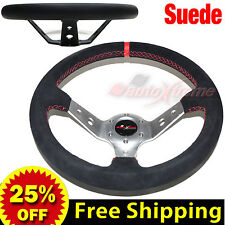 """JDM 350mm 14"""" SUEDE LEATHER DEEP DISH Racing Steering Wheel RED Stitches SILVER"""