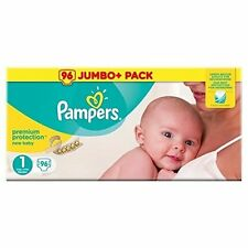 Pampers New Baby Size 1 Nappies Jumbo Pack of 96 Newborn Babies Monthly Saving