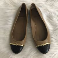 Tory Burch $295 Pacey Patent Leather Cap Toe Ballet Flats Size 8.5 Tan Black