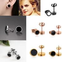 Men Women Black Barbell Punk Gothic Stainless Steel Stud Earrings Jewelry Gift