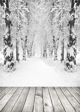 Snow Photo Background Winter Scenic Vinyl Photography Backdrop Wood Floor 5x7ft