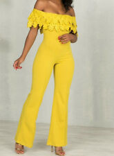 Womens Mustard Yellow Off Shoulder Strapless Wide Leg Crochet Lace Jumpsuit