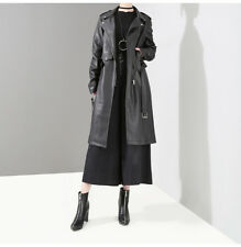 LE Brand Women's Black PU Lace Up Long Jacket Lapel Faux Leather Trench Coat New