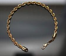 Bracelet 22cm style corde torsadé en métal doré couleur or jaune pour homme neuf