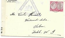 ST KITTS     CENSOR COVER  TO SABA  WITH CURACAO HAND STAMP   ON   26 JU 43
