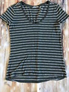 ATHLETA Top Daily Tee Womens S Green White Stripe Extra Small