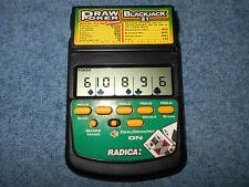 RADICA FLIPTOP BLACKJACK 21 DRAW POKER HANDHELD ELECTRONIC GAME MODEL 2812 NICE