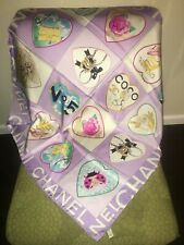 Auth. Chanel, purple and multicolor hearts scarf  34 x 34