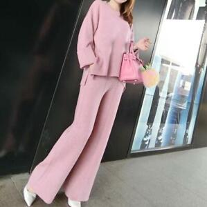 Womens Cashmere Warm Pullover Sweater Wide-leg Pants Slim Knit 2Pcs Sets Solid