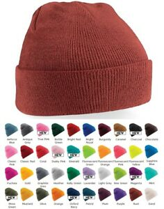 GREEN RED PINK ORANGE BROWN GREY & MORE Soft Knitted Acrylic Warm Ski Beanie Hat
