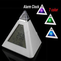 7 Color Change Triangle Clock Pyramid Time LED Alarm Digital LCD Thermometer Hot