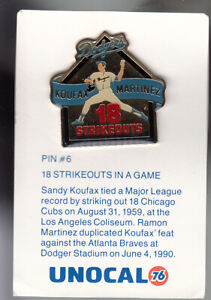 VINTAGE L.A. DODGERS UNOCAL PIN (UNUSED) - 18 STRIKEOUTS IN A GAME