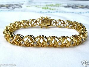 3/4 Ct Diamond Tennis Bracelet 18k Yellow Gold over Sterling Silver .925