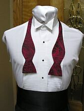 Self Tie Bow Tie Red Majestic Paisley Steampunk Retro Tuxedo Wedding Prom