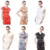New Womens Wedding Satin Bolero Shrug Jacket Stole Short Sleeve Size UK 6-28