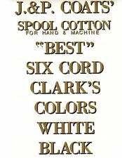 J & P COATS SPOOL CABINET DECALS 8 PIECE SET / GOLD LETTERS with BLACK SHADOW.