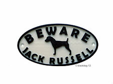 Jack Russell & Motif Beware Of The Dog Sign - House Garden Plaque - White/Black