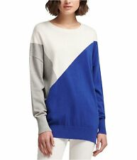 DKNY Womens Colorblocked Knit Sweater, Blue, X-Large