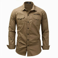 Mens Shirts Military Cargo Army Tactical Long Sleeve Pocket Work Shirt Slim Fit