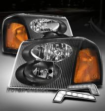 FOR 02-09 GMC ENVOY XL XUV BLACK HEADLIGHT HEADLAMP LAMP W/LED DRL SIGNAL LH+RH
