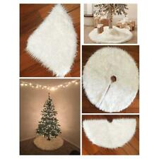 White Plush Christmas Tree Skirt Home Outdoor Decor Round Carpet Floor Mat 122cm