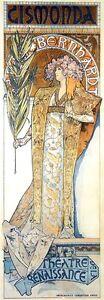 GISMONDA, 1894 Alphonse Mucha Reproduction Rolled CANVAS PRINT 17x41 in.
