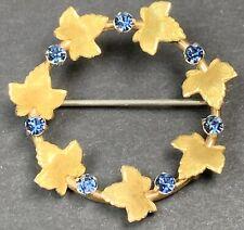 Vintage Brooch Pin Gold Tone Reef Leaves Crystal Blue Rhinestones