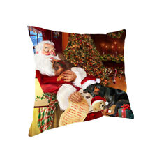 Santa Sleeping with Doberman Pinscher Dogs Christmas Pillow 14x14