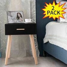 Black Pair of Sofa Bed Side End Table Nightstand w/ Drawer and Wooden Legs