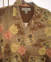 Tommy Bahama Hawaiian Aloha Camp Shirt Mens Size L 100% Silk Post Card print