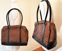 COACH Signature Canvas Zip Shoulder Bag Hobo Purse Handbag Satchel Brown Tote