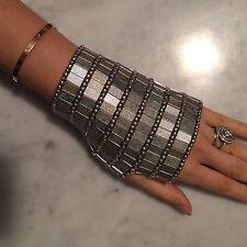 Rare Silver Unique Metal Glove Bead Bracelet Cuff